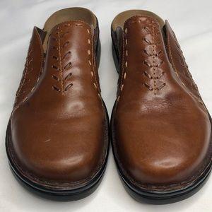 Clark brown leather slides size 9